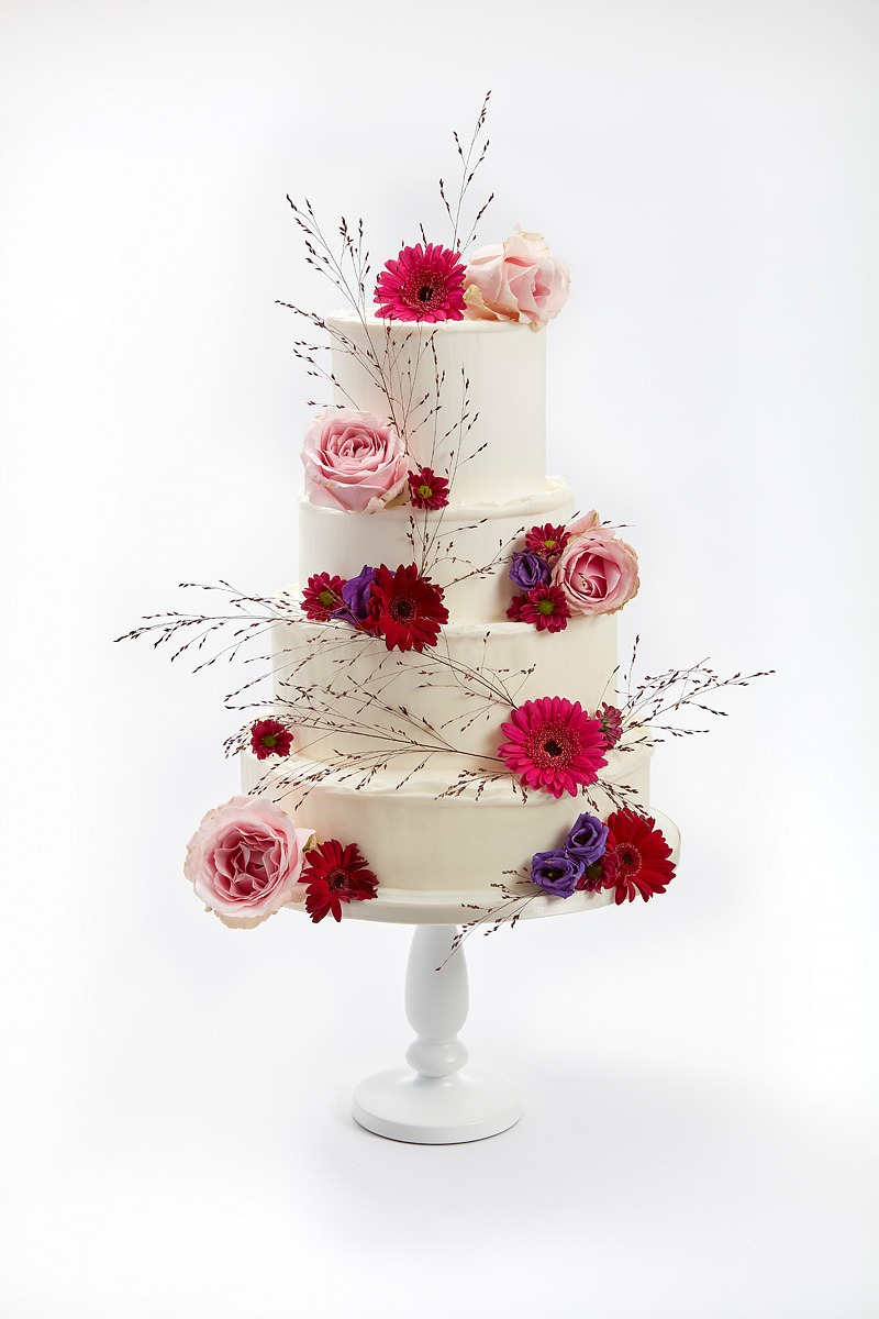 Buttercream Cake w/ Fresh Flowers in Deep Reds & Pinks | Clare Anne Taylor Couture Cakes