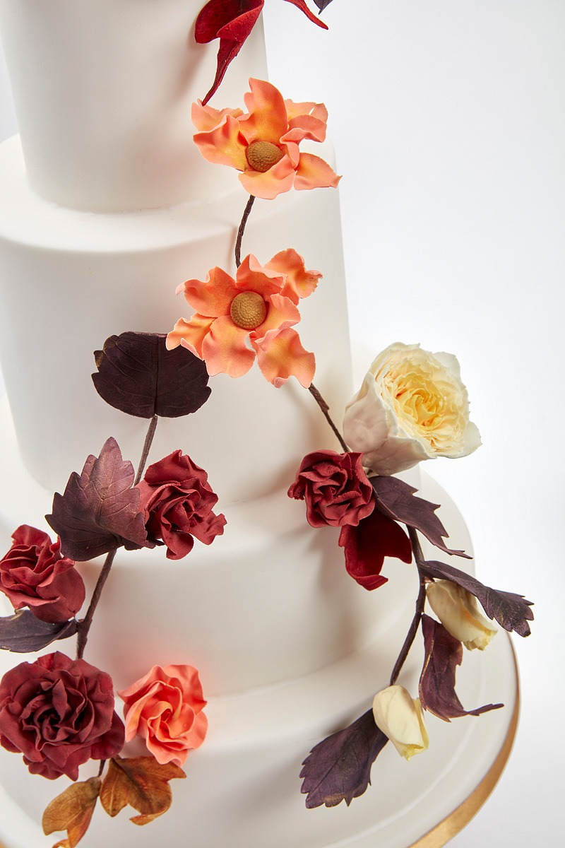 Orange & Copper Dogwood & Cyclamen Roses | Clare Anne Taylor Couture Cakes