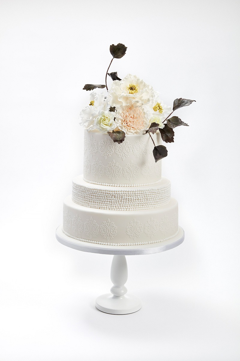 Pearl & Floral Elegance | Clare Anne Taylor Couture Cakes