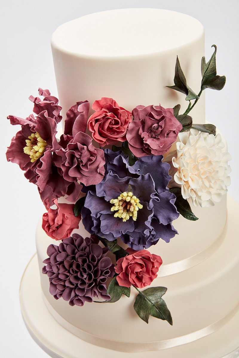 Peonie & Dahlia Coursage | Clare Anne Taylor Couture Cakes
