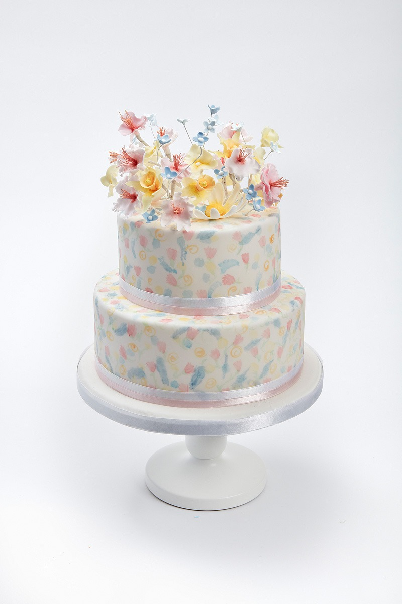 Spring Blossoms & Watercolour | Clare Anne Taylor Couture Cakes